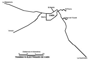 Trams in Caen - Tramways of Caen network plan.
