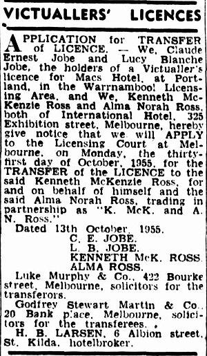 Kenneth G. Ross - The Argus, 18 October 1955.