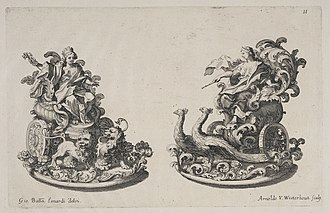 Sugar sculpture - Two elaborate sugar triomfi of goddesses for a dinner given by the Earl of Castlemaine, British Ambassador in Rome, 1687