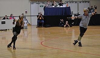 Richter City Roller Derby - Roller Derby Team New Zealand member Tuff Bikkies (Meryn McAulay), jamming for Smash Malice in the 2011 Richter City intraleague final.