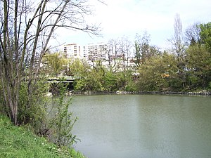 Tundzha - Tundzha River in Yambol, Bulgaria - The Bridge that connects former Mineral Public Bath and Hotel Tundzha with the City Park