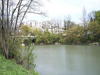 Tundzha - Tundzha River in Yambol, Bulgaria - The Bridge that connects former Mineral Public Bath and Hotel Tundzha with the City Park