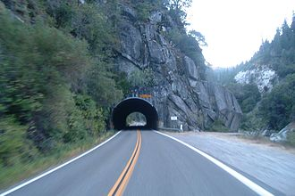 California State Route 70 - Westbound through the Arch Rock Tunnel, the westernmost of the three