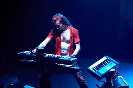 The use of keyboard through traditional piano and strings to create a gothic atmosphere is an important part of Nightwish's original music. Tuomas Holopainen, Palais.jpg