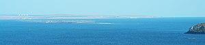 State Border of Ukraine - Tuzla Spit island (center). View from Mount Mithridat (Kerch, Ukraine).