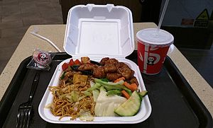 Panda Express - A typical Panda Express meal: Kung Pao chicken, orange chicken, chow mein and steamed vegetables