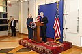 U.S. Ambassador to Afghanistan Ryan Crocker, at podium, introduces U.S. Secretary of State Hillary Rodham Clinton to the staff of the U.S. Embassy in Kabul, Afghanistan 111020-S-PA947-1272.jpg
