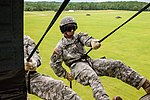 U.S. Army 1Lt. Stephen Murga rappels from a UH-60 Black Hawk helicopter during the Air Assault course at Camp Blanding Joint Training Center, Starke, Fla., July 1, 2013 130701-A-PO157-599.jpg
