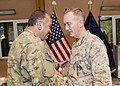 U.S. Marine Corps Gen. Joseph F. Dunford Jr., right, the outgoing commander of the International Security Assistance Force and U.S. Forces-Afghanistan, shakes hands with Supreme Allied Commander Europe U.S. Air 140826-D-HU462-381.jpg