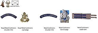 Natal Carbineers - UDF and SADF era Natal Carbineers insignia