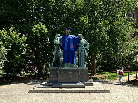 The Alma Mater statue at the University of Illinois at Urbana-Champaign during the 2012 commencement week.