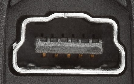 Mini-USB socket with additional pins and notch on Canon camera
