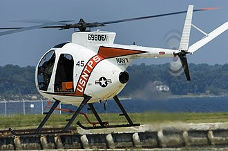 Hughes OH-6 Cayuse - A TH-6B Cayuse helicopter takes off for a training flight from NAS Patuxent River, Maryland