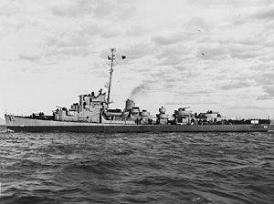 USS Engstrom (DE-50) underway off the Mare Island Naval Shipyard on 27 February 1945 (19-N-79871)