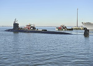 USS Minnesota (SSN-783) departs Norfolk in January 2014.JPG