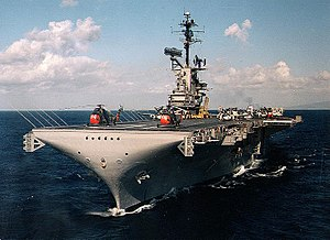 USS Yorktown (CV-10) - Image: USS Yorktown (CVS 10) at sea off Hawaii, circa in 1962 (NH 97458 KN)