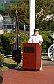 US Navy 020920-N-5592W-003 Commander, Fleet Activities Sasebo, delivers message at Fleet Activities Sasebo Japan.jpg