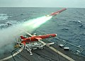 US Navy 050719-N-1159B-048 A BQM-74E aerial target drone launches from the flight deck of the guided missile frigate USS Samuel B. Roberts (FFG 58).jpg