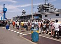 US Navy 050807-N-9860Y-128 Japanese visitors wait in line for the opportunity to tour USS Blue Ridge (LCC 19), during a Friendship Day event held on board Fleet Activities Yokosuka, Japan.jpg