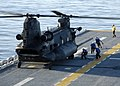 US Navy 060419-N-3527B-082 A U.S. Army MH-47 Chinook, assigned to the 160th Special Operations Aviation Regiment lands on the flight deck aboard the amphibious assault ship USS Wasp (LHD 1) during flight deck qualifications.jpg