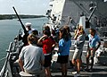 US Navy 070501-N-4014G-165 A group of students from Ransom Everglades Middle School tours the forecastle of guided missile destroyer USS Forrest Sherman (DDG 98).jpg