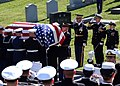 US Navy 071031-N-1134L-046 Pallbearers unload the casket of former Chairman of the Joint Chiefs of Staff, Adm. William J. Crowe during his funeral at Naval Academy Cemetery.jpg