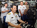 US Navy 090513-N-5013K-064 Vice Adm. Tohru Izumi, commander in chief, Self-Defense Fleet, Japan Maritime Self-Defense Force (JMSDF), sits at ship's control panel aboard USS Seawolf (SSN 21).jpg