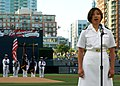 US Navy 090720-N-7214F-022 t. Joselyn C. Mercado, an obstetrician-gynecologist resident assigned to Naval Medical Center San Diego, sings the national anthem at Petco Park in San Diego, Calif.jpg