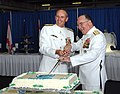 US Navy 090724-N-2844S-114 Adm. Jonathan W. Greenert, left, and Adm. John C. Harvey, Jr., cut the cake at the reception aboard the aircraft carrier USS Harry S. Truman (CVN 75) during a change of command ceremony at Naval Stati.jpg
