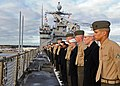 US Navy 100118-N-1082Z-003 Sailors and Marines man the rails aboard the amphibious dock landing ship USS Ashland (LSD 48).jpg