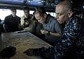 US Navy 110514-N-DR144-197 Republic of the Philippines President Benigno Aquino III studies charts of the Philippines with Rear Adm. Samuel Perez,.jpg