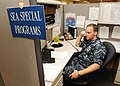 US Navy 110722-N-WJ386-002 Chief Culinary Specialist Joseph Densmore, Sea Special Programs, talks to a Sailor about their career options.jpg