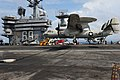 US Navy 110917-N-BQ817-168 An E-2D Hawkeye assigned to Test and Evaluation Squadron (VX) 1 makes an arrested landing aboard the aircraft carrier US.jpg