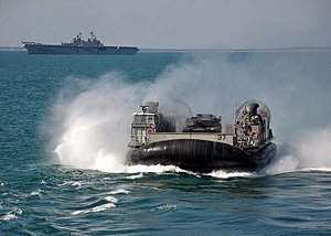 US Navy 120201-N-VL218-005 Landing Craft Air-Cushion (LCAC) 37 approaches the well deck of the amphibious transport dock ship USS San Antonio (LPD.jpg