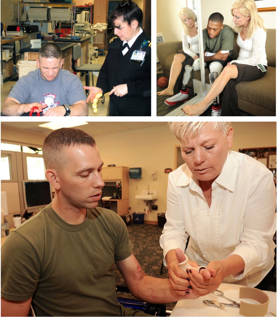 US Navy Occupational therapists working with outpatients