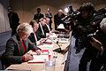 Underteckande av avtal med Guernseys och Jerseys finansministrar Lyndon Trott och Frank Walter vid Nordiska radets session i Helsingfors 2008-10-28. Narmast kameran ar den norske finansministern Kristin Halvorsen.jpg