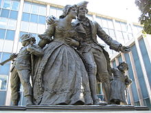 Statue of United Empire Loyalists in downtown Hamilton on Main Street East.
