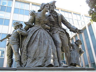 Ontario - Statue of United Empire Loyalists in downtown Hamilton on Main Street East.