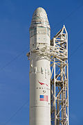 Upper section of a Falcon 9 with Dragon capsule for tests on pad.jpg