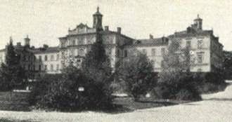 Uppsala University Hospital - The old main building of the Uppsala University Hospital, photograph from c. 1920. This building, although modernized, is still in use.