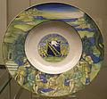 Urbino, nicola da urbino, piatto con competizione tra pan e pollo, stemma calini di brescia.JPG