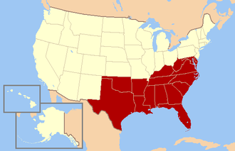 """Politics of the Southern United States - The Southern United States as defined by the United States Census Bureau. The """"South"""" and its regions are defined in various ways, however."""