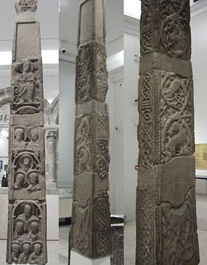 High cross - Three views of the Northumbrian Easby Cross of 800–820