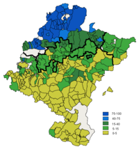 Distribution of Basque speaking people in Navarre 2001 and the zones where the basque language is official
