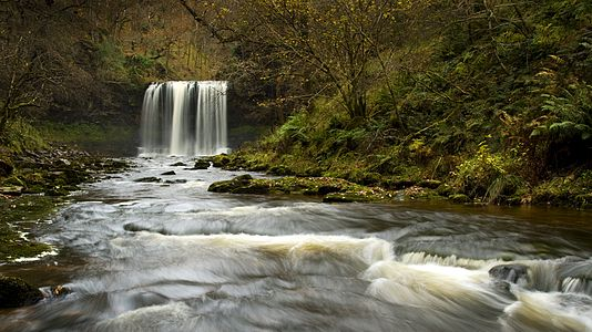 Fifty foot waterfall in Brecon Beacons, Wales.