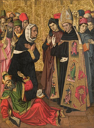 Saint Augustine Altarpiece (Huguet) - Image: Vergós Group Saint Augustine Disputing with the Heretics Google Art Project