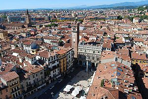 Old town - Historical Centre of Verona in Italy.