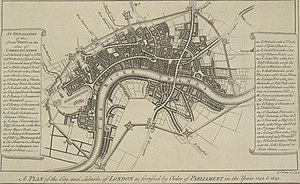 Lines of Communication (London) - George Vertue's 1738 plan of the London Lines of Communication