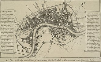 London - Vertue's 1738 plan of the Lines of Communication, built during the English Civil War