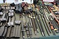 Victory Show Cosby UK 06-09-2015 WW2 re-enactment display Trade stalls Misc. militaria personal gear replicas reprod. originals collect. zaphad1 Flickr CCBY2.0 Ammo mags grease carabine AK47 UZI VIG Browning MG13 bayonets etc IMG 3830.jpg